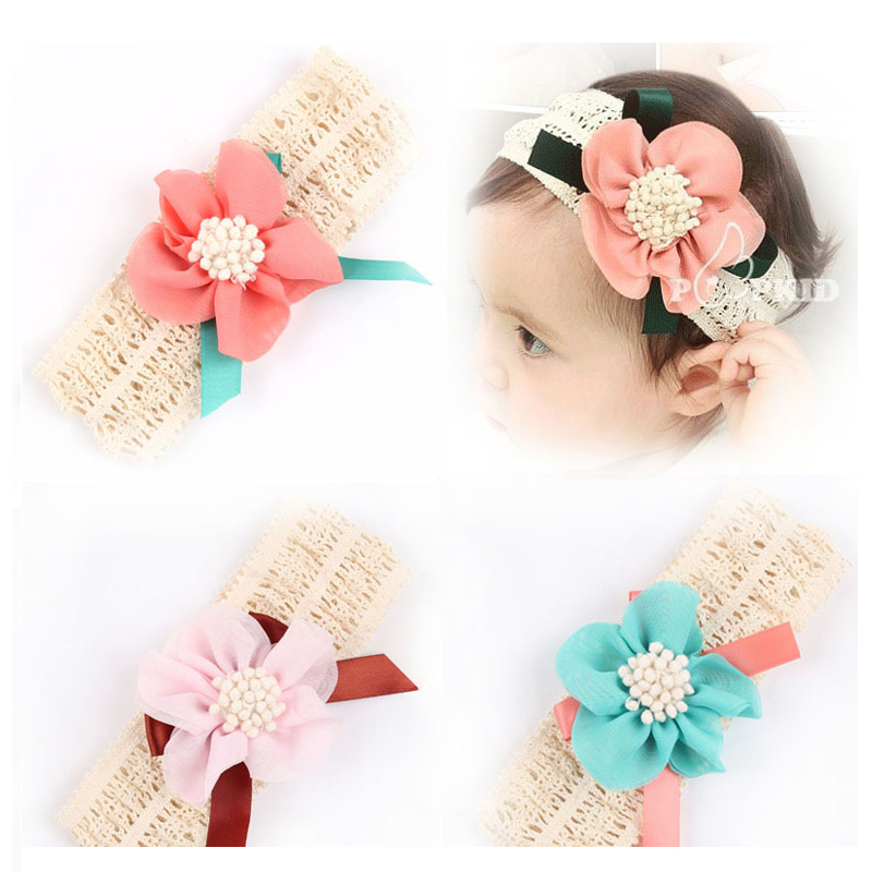 Headband Lovely Princess Style Oversized Flower Bow Lace Headwear Hair Wide Bands Hair Accessories  w--076 metting joura vintage bohemian green mixed color flower satin cross ethnic fabric elastic turban headband hair accessories