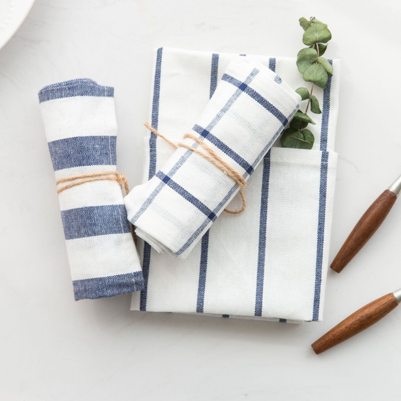 US $15.73 60% OFF|10pcs high quality Blue white check striped tea towel  kitchen towel napkin table cloth 100% cotton yarndye fabric free  shipping-in ...
