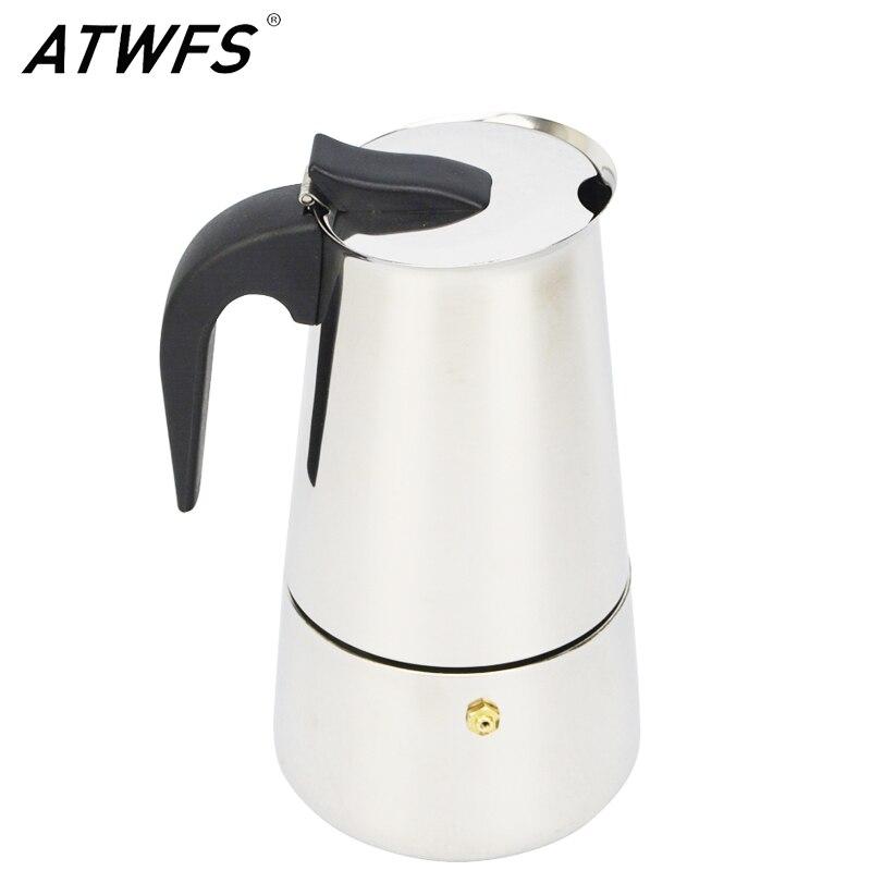 ATWFS высокомощный качество 4/6/9 чашки Нержавеющаясталь Кофе Мока эспрессо латте Percolator плита для приготовления эспрессо на горшок