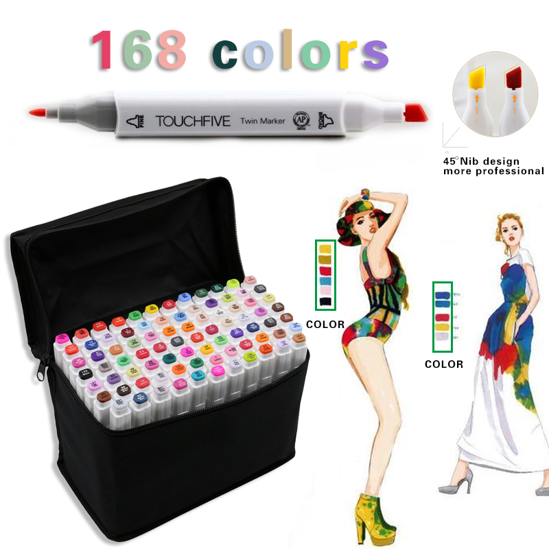 TOUCHFIVE 168 Colors Marker Set Dual Head Sketch Alcohol Markers Pen Drawing Manga Animation Student Design Art markers Supplies dainayw 12 cool grey colors marker pen grayscale dual head art markers set for manga design drawing school student supplies