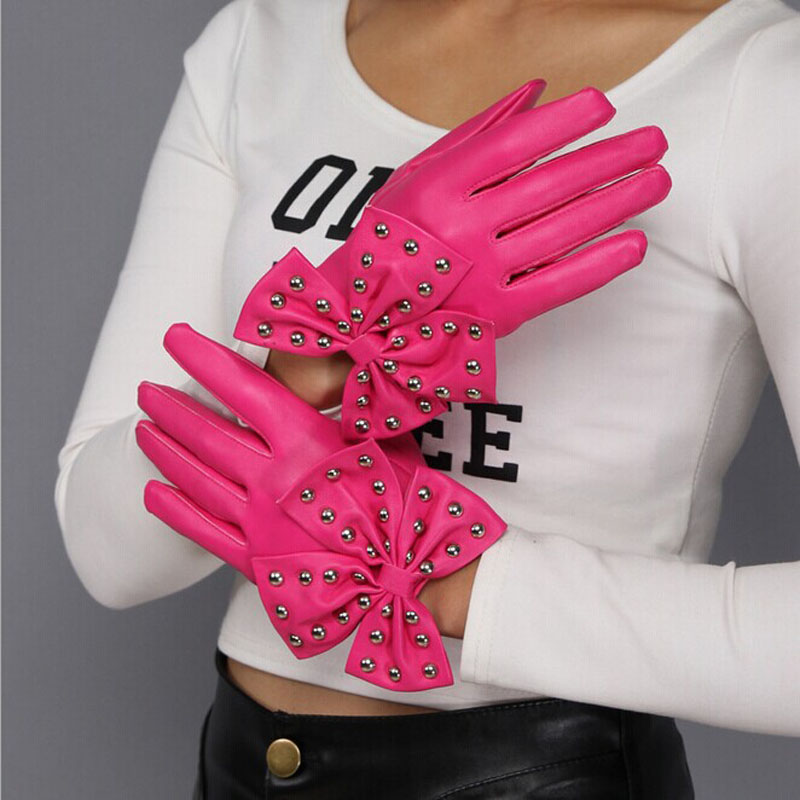 Gloves Girl Female Stretch Knit Gloves Mittens WinterFashion Women Ladies Rivets Butterfly Bow Soft Leather Winter Gloves L1220