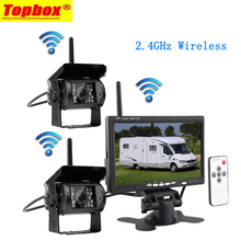 """Wireless 7 """"Vehículo Monitor 2 Cámara de Reserva e IR de Visión Nocturna Cámara de Visión Trasera de Ayuda Al Aparcamiento A Prueba de agua Para RV Camión"""