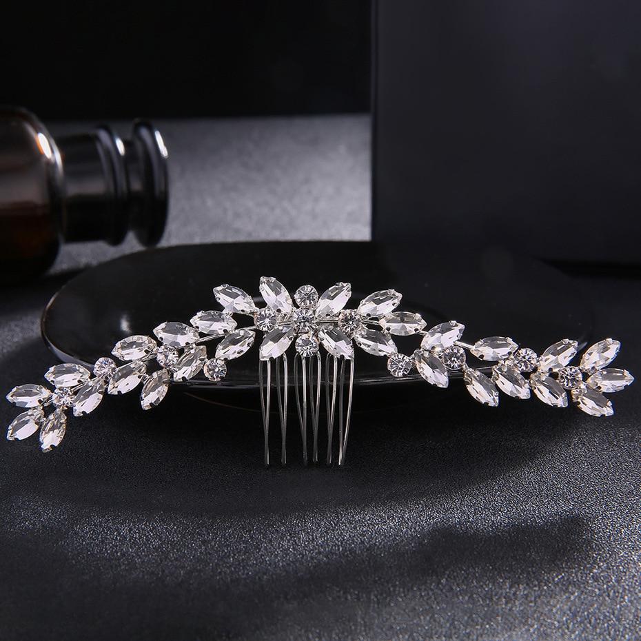 SLBRIDAL Art Deco Vintage Silver Clear Rhinestone Crystal Flower Flower Հարսանյաց մազերի սանր Հարսանյաց գլխաշոր Մազերի պարագաներ հարսնաքույր
