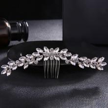 SLBRIDAL Art Deco Vintage Silver Clear Rhinestone Crystal Flower Wedding Hair Comb Bridal Headpiece Hair accessories Bridesmaids