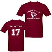 موضة جديدة الأعلى تيز دماء الصوفي يقع تمبروولفز t-shirt رجل قمزة قميص أوم سالفاتوري 17 المارون القطن تي شيرت