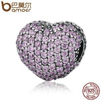 BAMOER 925 пробы серебро Проложить Открой мое сердце, розовый прозрачный кубический цирконий CZ подвески-талисманы форме браслета поделки изгот...