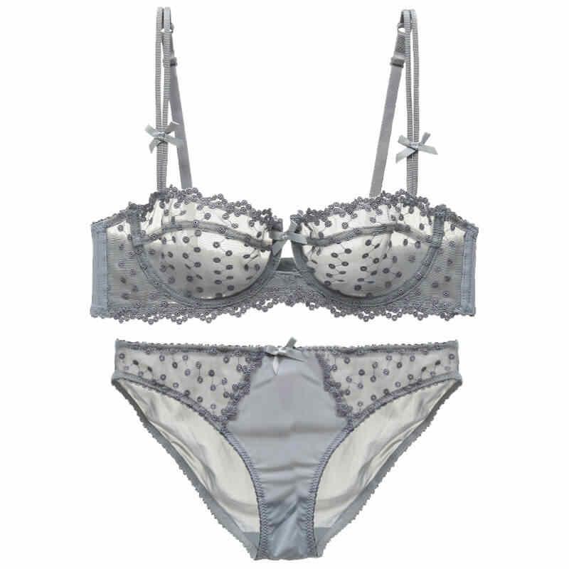 d1b25c7de7 Plus Size Sexy Lingerie Demi bra and panty Set Unlined Dot Underwire  Transparent underwear women Bow