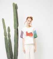 Harajuku T Shirt Summer Korean Tshirts Stitching Casual Tee Tops Cute Cat Printed Short Sleeved T
