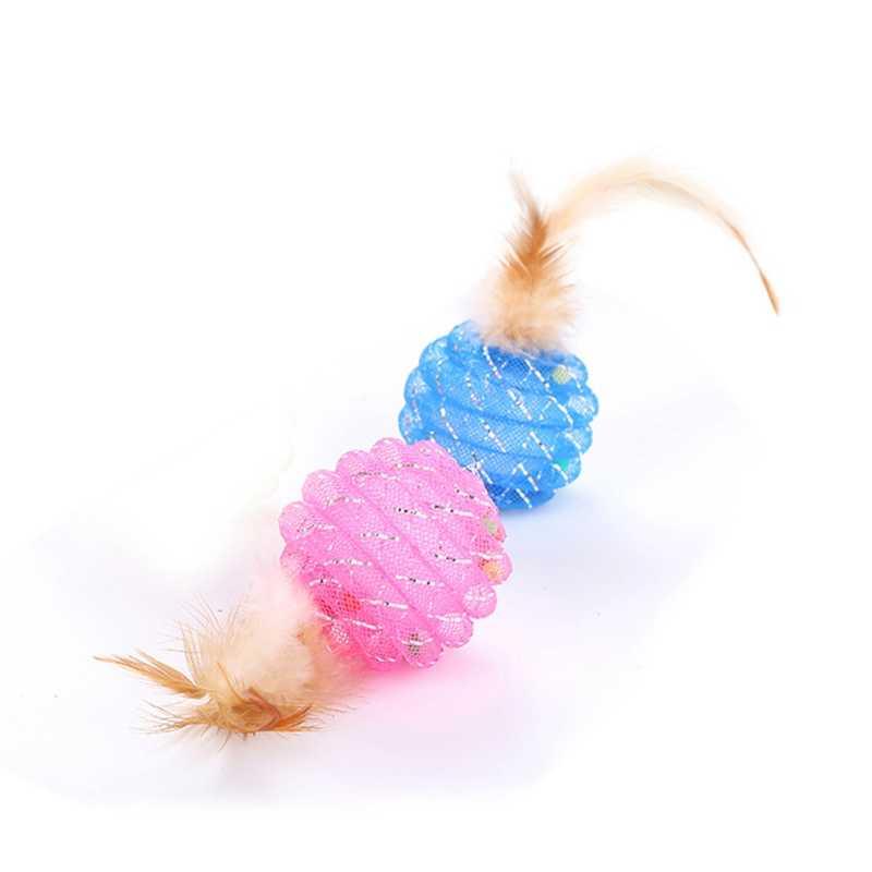 Gatos criativos Pena Brinquedo Bolas Coloridas Gatos Arranhando Brinquedos Jogo Interativo Mastigação Brinquedos Formação Bola de Rolo De Tubo De Plástico