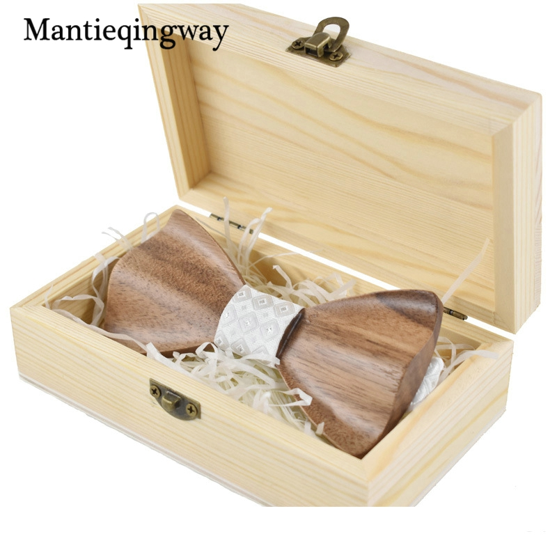 Mantieqingway Mode Holz Bowtie Mens Polyester Taschentuch Krawatte Sets Handmade Holz Fliege Gravata Schlank Einstecktuch Set