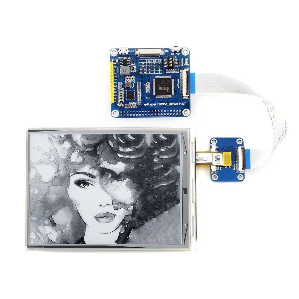 Waveshare 6 polegada E-CHAPÉU para Raspberry Pi 800*600 Resolução de display De Tinta e Papel-IT8951 controlador USB/SPI/I80/I2C interface