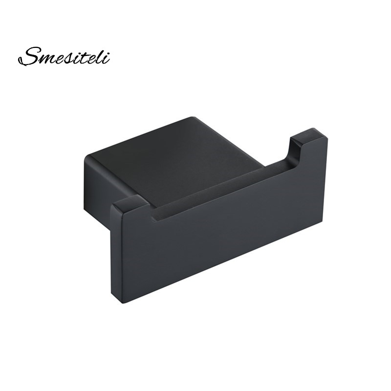 Newly Square Style Matte Black Double Wall Hook Towel Robe Stainless Steel 304 Bathroom Holder Hanger
