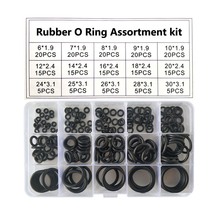 цена на 200PCS/set Rubber O Ring Assortment kit oring Washer Gasket Sealing O-Ring pack 15 Sizes with Plastic Box silicone rubber rings