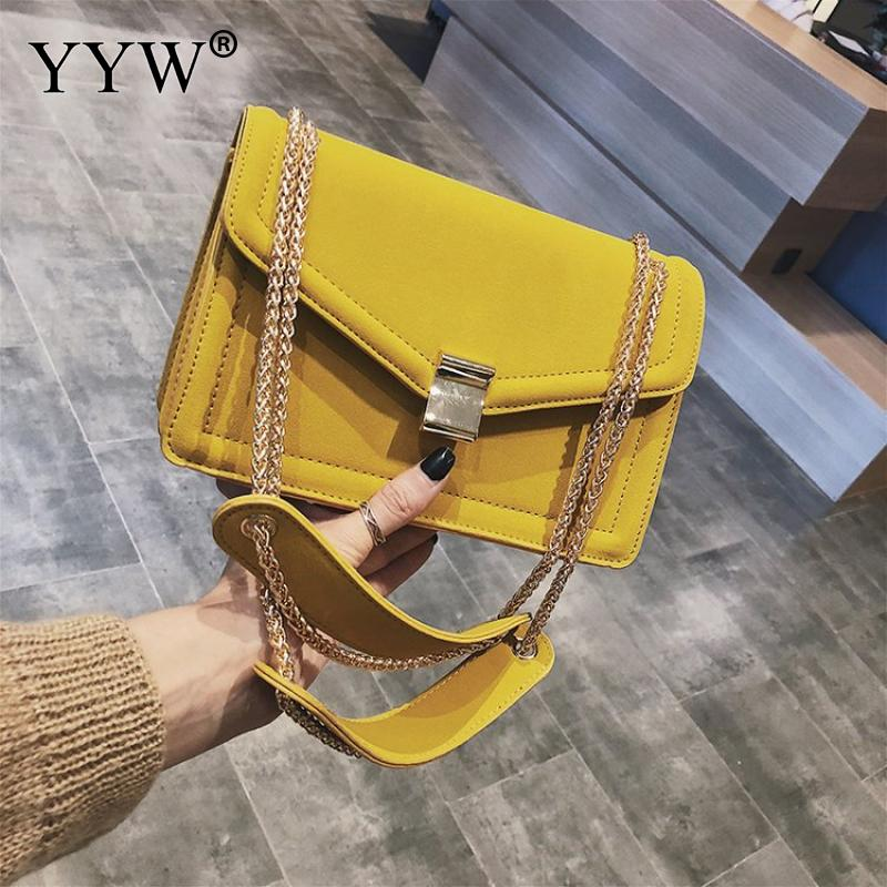 Yellow Crossbody Bags For Women 2019 Leather Solid Color Box Bag Wholesale Chain Handbags Female Shoulder Shopping Bag Purse