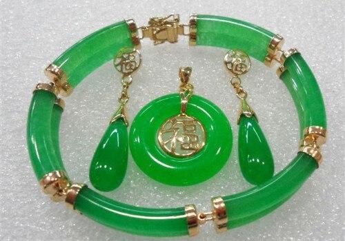 2 ряда браслет с Зелеными камнями серьги, ожерелья Набор прекрасный благородство хорошие Свадебные украшения счастливые женские 925 серебро
