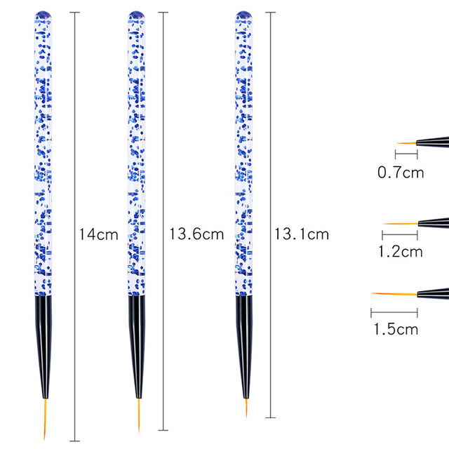3pcs/set Nail Art Line Painting Pen 3D Tips Acrylic UV Gel Brushes Drawing Crystal Liner Glitter French Design Manicure Tool 2