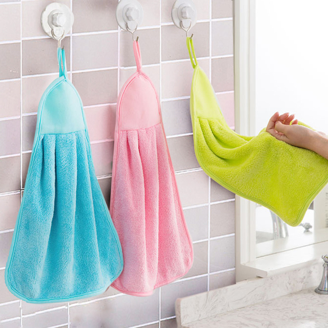 Hand Towel, Plush Nursery Hanging Kitchen Bathroom Thick Soft Cloth Wipe Towel Cotton Non-oil-Stick Dish Washing Quick-dry