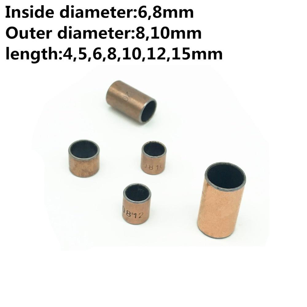sourcing map 10 Pcs Self-Lubricating Composite Bearing Bushing Sleeve 8 x 10 x 10mm