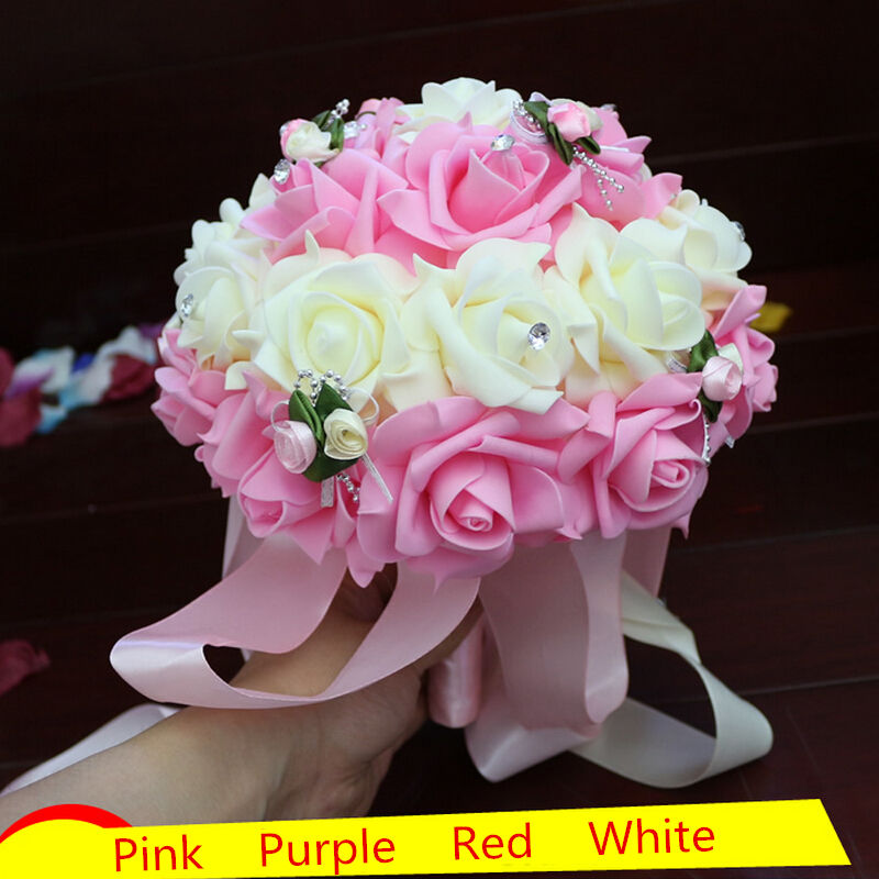 Hot Selling Artificial Wedding BouquetsPink Purple Red Bridesmaid Bridal Rose Flower BouquetNew Handmade Party Flowers In Dried