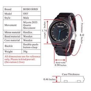 Image 5 - ボボ鳥レロジオ masculino 木製腕時計男性時計クォーツ時計木製のギフトボックス oem ドロップ無料 W O03