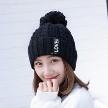 Новинка, вязанная шапка с надписью LOVE, женская брендовая Высококачественная зимняя женская Лыжная шапка с помпонами из кроличьего меха, вязаный шарф