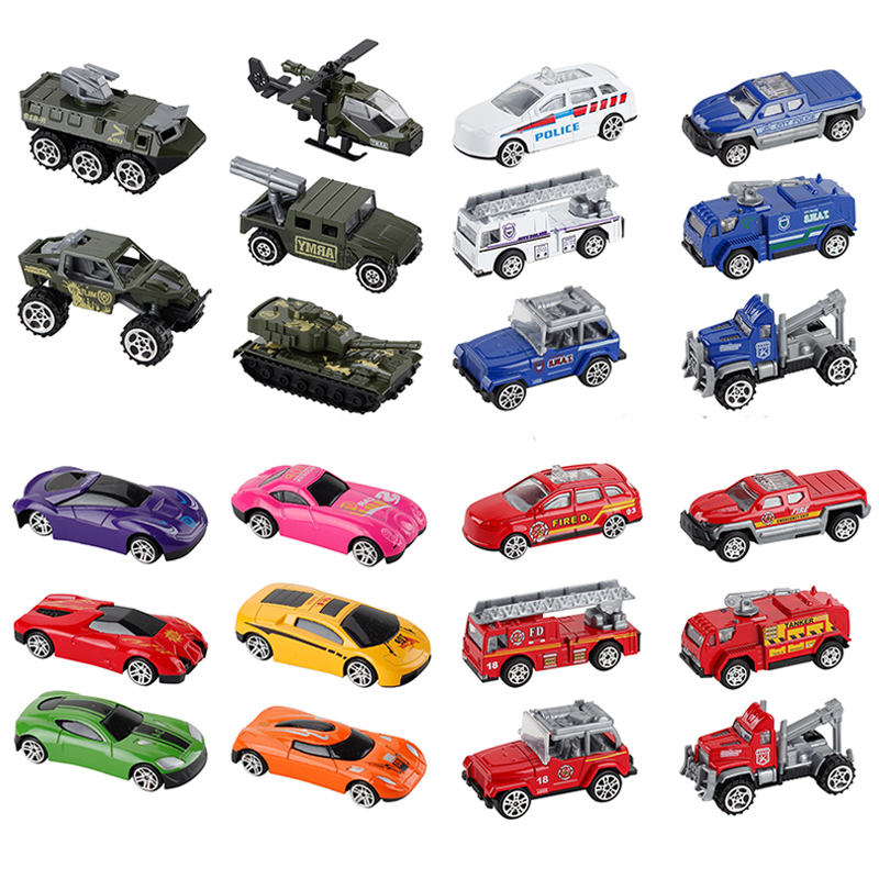Model Toy Mini 4-Styles 1:65-Alloy-Pull-Back-Car Helicopter Tank-Armor Vehicle Fire-Truck