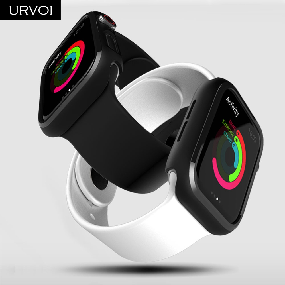 URVOI Black frame for Apple Watch series 4 3 Plastic bumper hard cover protectorfor iWatch 40 44mm slim fit Ultra-thin case_04