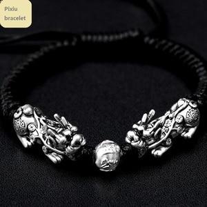 Image 2 - Hecho a mano buena suerte pulsera de hombre Fengshui pulsera Pixiu 3D de plata 999 riqueza Pixiu con cuentas pulsera regalo hombre
