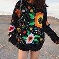 2017 Otoño y El invierno de la nueva Europa y América retro marea de licencias suelto tejer flores bordado suéter