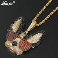 Missfox Eye catching Dog Pendant Necklace Men Animal Shape Golden Copper Jewelry Hip Hop Fashion Top Quality Mens Necklace Chain