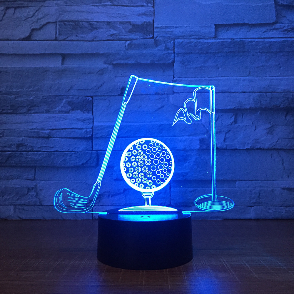 Golf Sport 3D Night Light Touch Switch 7 Color Changing LED Table Lamp 3D Visual USB Night Lights Home Decor Gift for Dad