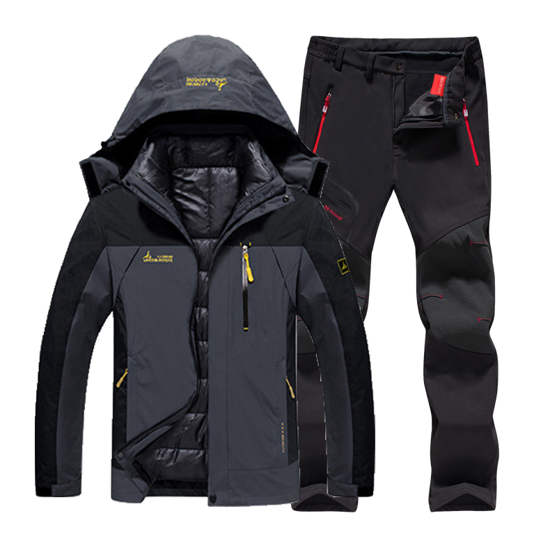Men Winter Waterproof Fishing Thermal Pant Plus Size Trekking Hiking Camping Skiing Climbing 3 in 1 Outdoor Jackets Set 6XL Suit