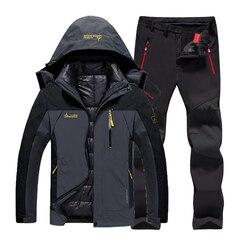 Pantalones térmicos de pesca impermeables de invierno para hombre, talla grande, senderismo, senderismo, esquí, escalada, 3 en 1, conjunto de chaquetas para exteriores 6XL traje