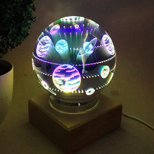 Butterfly Fireworks Universe Night Light Glass Magical Crystal Ball USB Power Table Lamp Home Bedroom Christmas Birthday Gifts