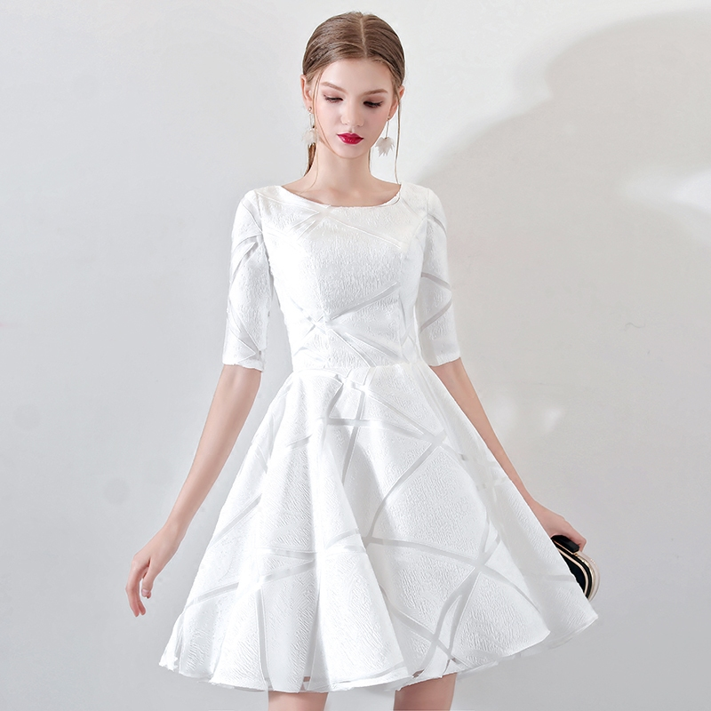 New Short   Cocktail     Dress   Champange O-neck Lace Flower Banquet Elegant Formal Party Gowns Robe De Soiree LF328