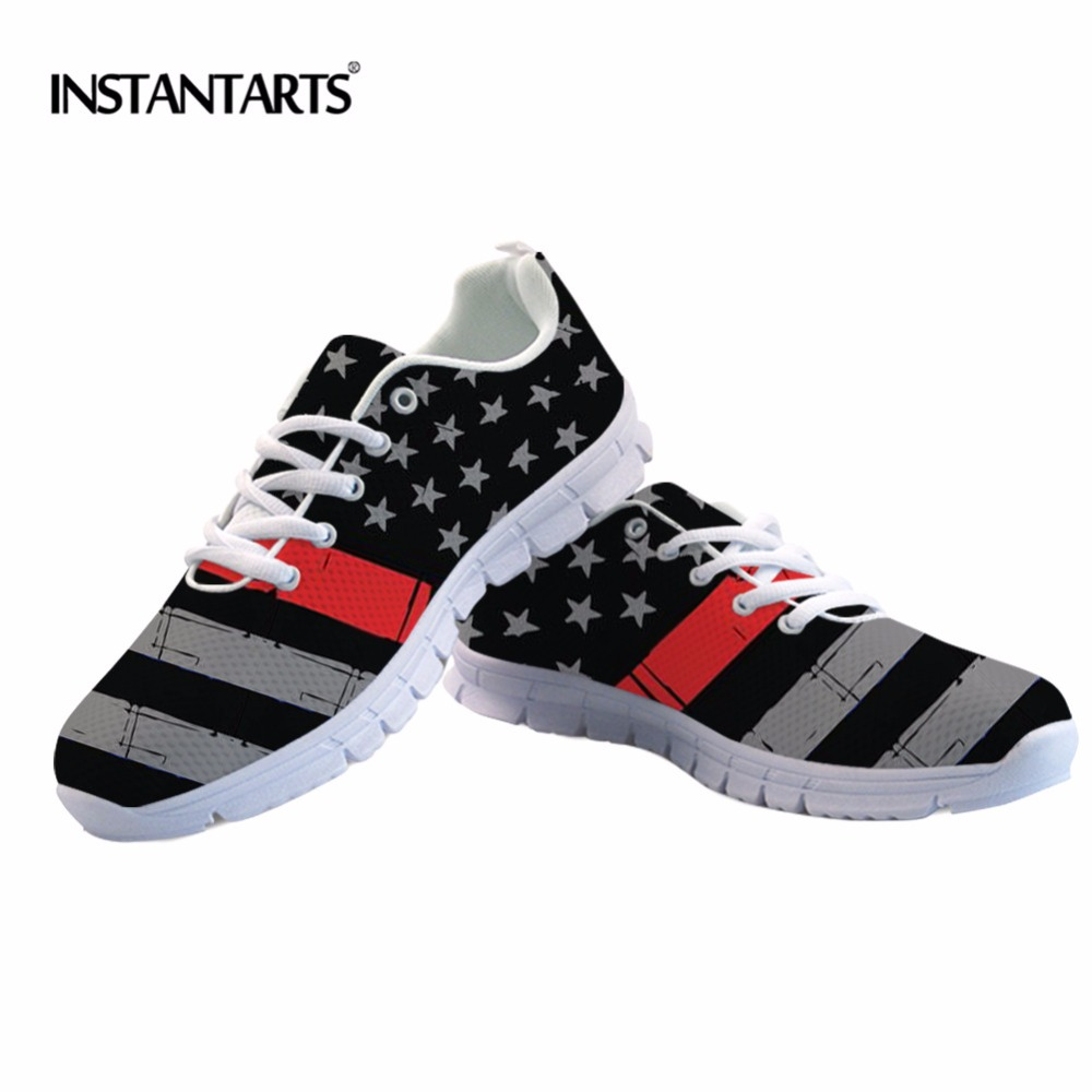 INSTANTARTS Thin Blue Red Line Distressed Flag Printed Sneakers Lace-up Exercise Couple Women Outdoor Running Men Sports Shoes цены