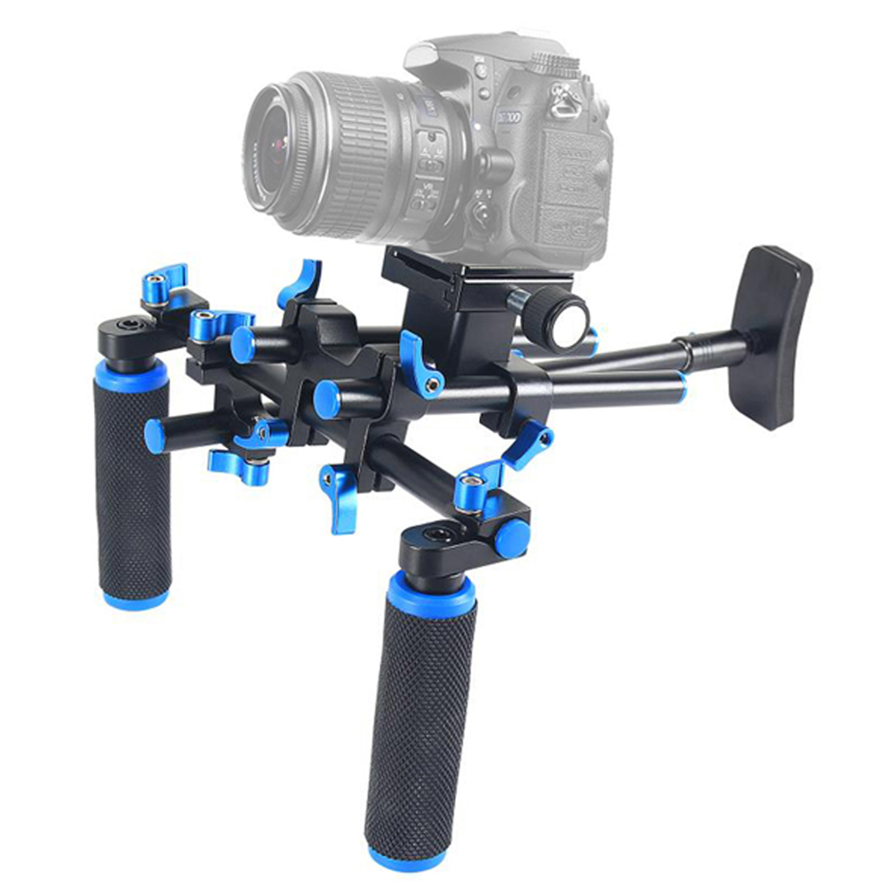 Professional DSLR Rig Standard 15mm Diameter Shoulder Mount Rig Stabilizer For Canon Sony Nikon SLR Video Camera DV Camcorder dslr rig double hand handgrip shoulder