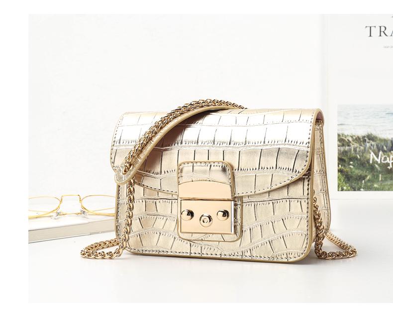 Fashion Women Crocodile Leather Quality Small Women Chain Shoulder Bag