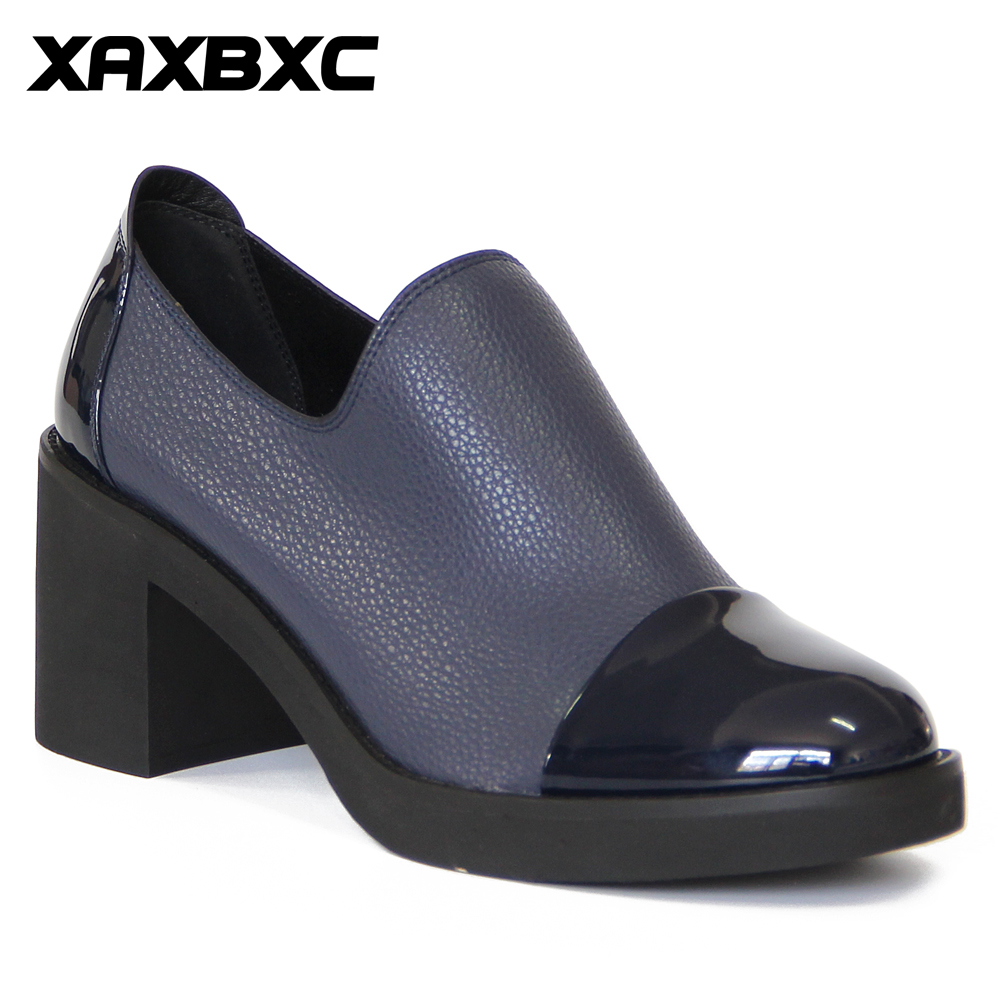 XAXBXC Retro British Style Læder Brogues Oxfords High Heels Kvinder Sko Blue Shallow Thick Heel Håndlavede Casual Lady Shoes