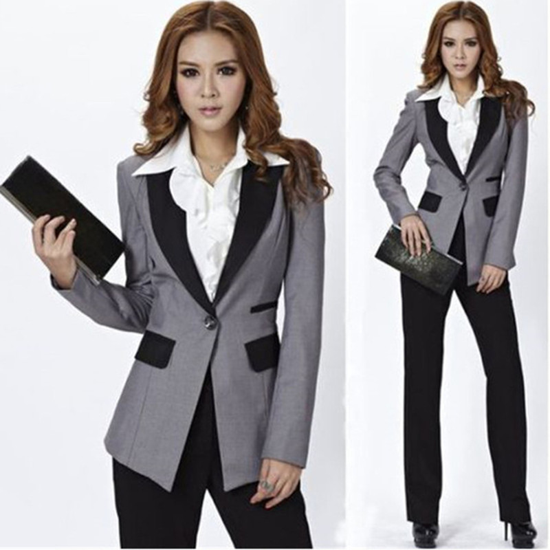 Customized New Fashion Gray Jacket + Black Pants Women's Ladies Business Office Tuxedo Overalls New Suit
