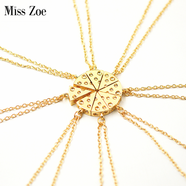 Miss Zoe 8pcs/set Pizza Cheese Pendant Necklaces Gold Silver Friendship Necklace Best Friends Forever Keepsake Birthday Gift