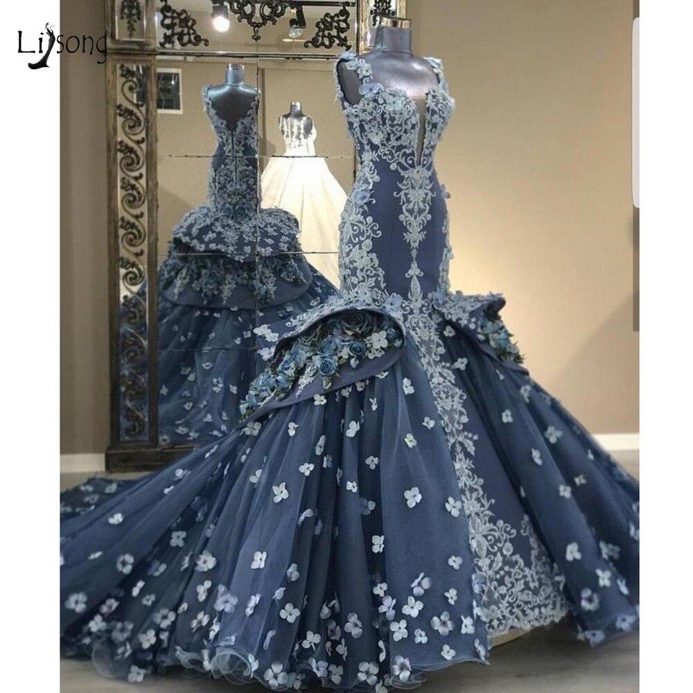 Gorgeous 20D Flower Mermaid Wedding Dresses 20 Appliques Ruffles Bridal  Gowns Luxury Navy Blue Wedding Gowns Robe De Mariee