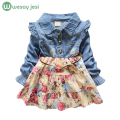 Baby Girls long sleeve girl dress Denim spring autumn princess blue flower girl dress jeans vintage clothes costume for kids
