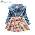 Baby Girls long sleeve girl dress Denim spring autumn princess blue flower girl dress jeans vintage clothes costume for kids