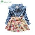 Meninas do bebê manga longa vestido da menina Denim primavera outono princesa vestido da menina flor azul das calças de brim do vintage roupas traje para as crianças
