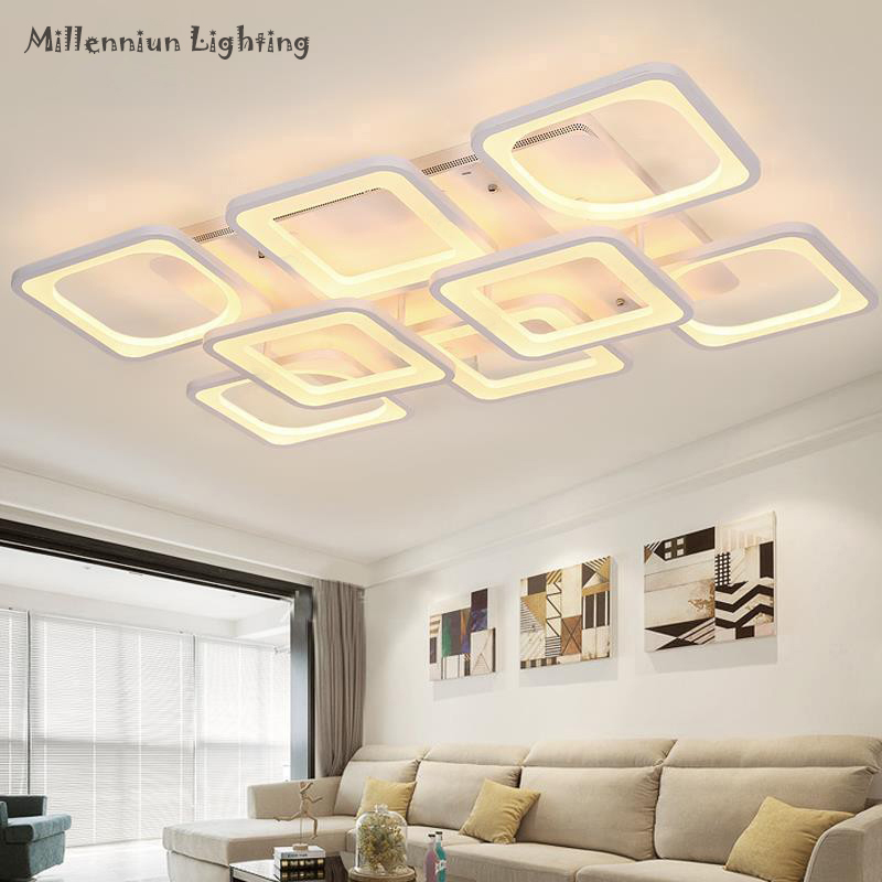 Simple LED livingroom ceiling ligting Acrylic bedroom chandelier ceiling Rectangular restaurant lights AC110-260V indoor fixture