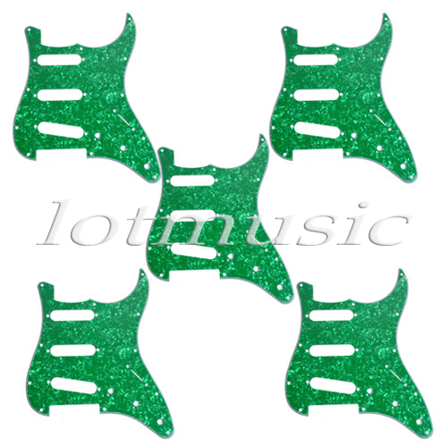 5Pcs Green Pearl Guitar Pickguard SSS 3Ply 11 Hole For Electric Strat Replacement 4pcs new mirror pickguard 11 hole sss for electric strat style guitar replacement