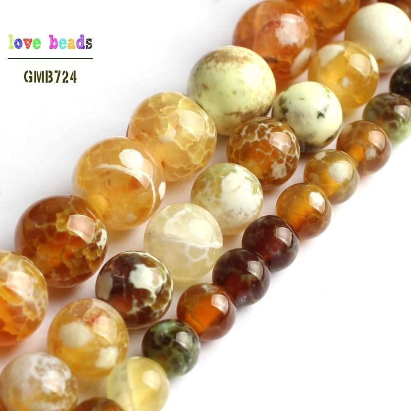 15/'/' Nice Orange Stripe Agate Onyx Gems Stone Loose Spacer Beads Jewelry 4-10mm