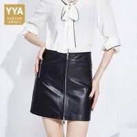 2019 новые дизайнерские для женщин панк мини юбка на молнии Высокая талия женские офисные Bodycon юбки карандаши овчины пояса из натуральной кож