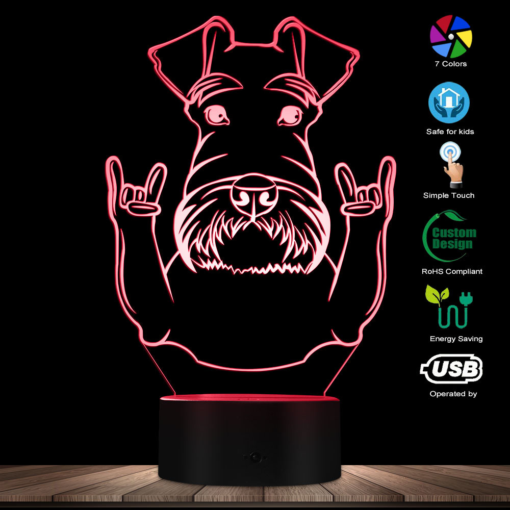 Schnauzer Dog Breed Portrait LED Night Light Schnauzer Animals With Rock Gesture Decorative Color Changing Modern Table Lamp